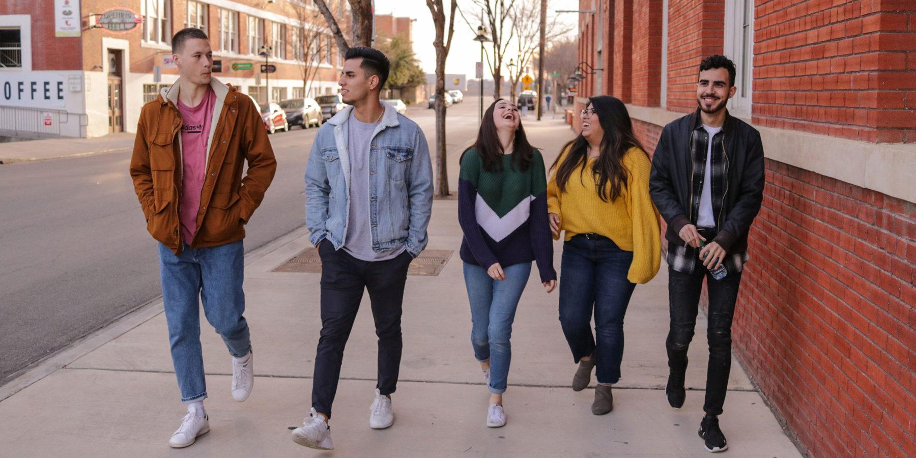 Group of Teens Walking to School